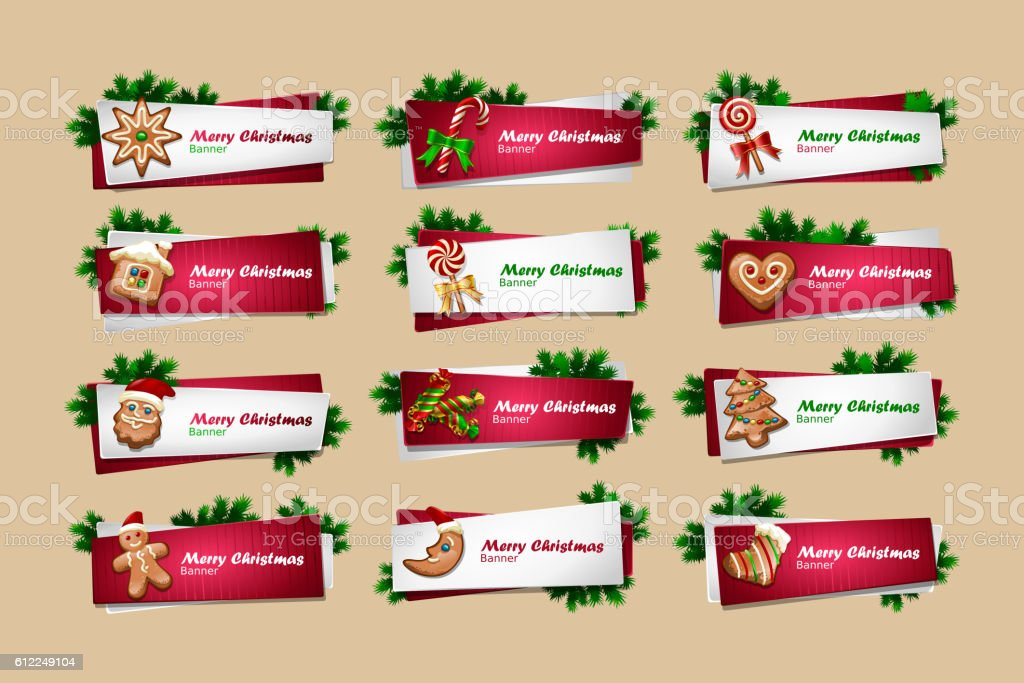 Set of vector New Year banners vector art illustration