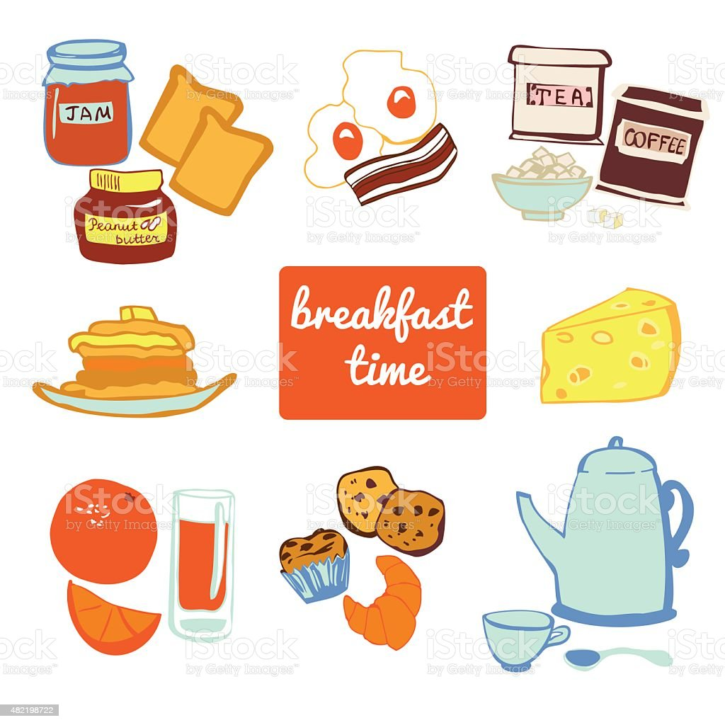 Set of vector objects Breakfast time vector art illustration