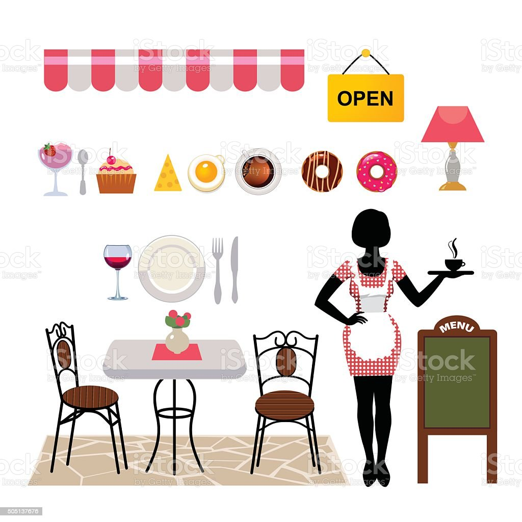 set of vector objects for cafe business vector art illustration