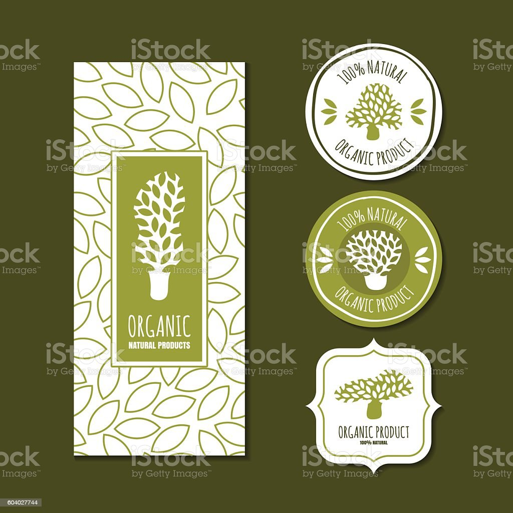 Set of vector organic labels, badges, stickers, packaging design elements. vector art illustration