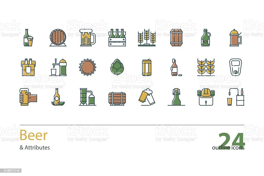 Set of vector outline colorful Beer and Attributes icons. vector art illustration
