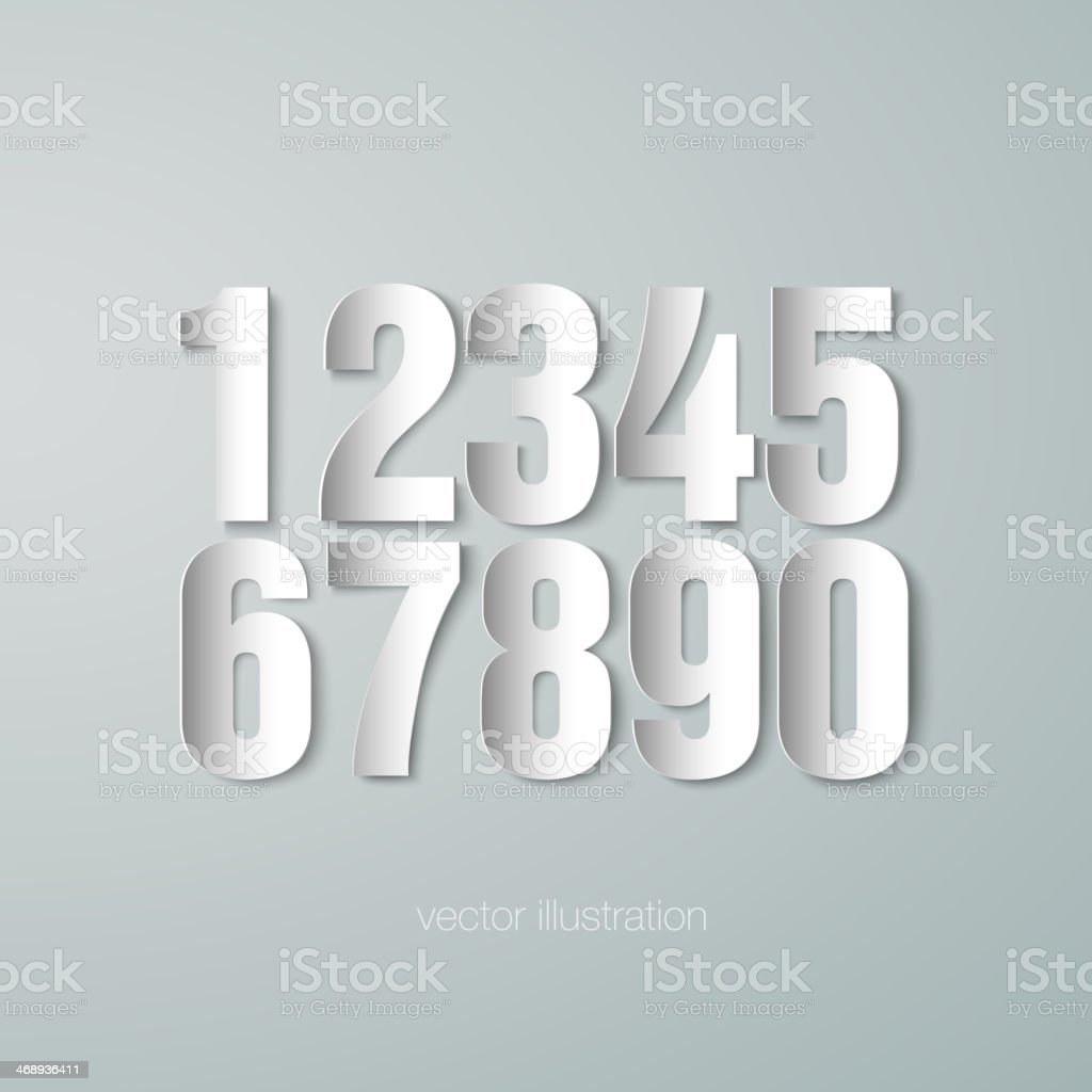set of vector paper numerals vector art illustration