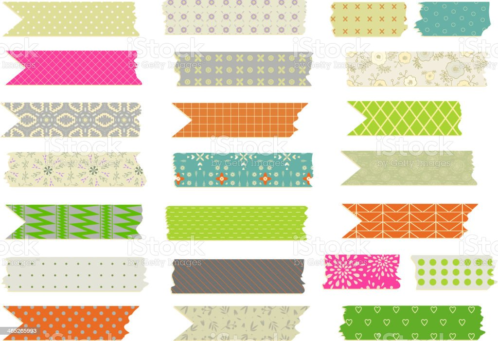 Set of vector patterned Washi tape strips vector art illustration