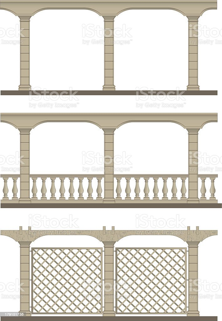 Set of vector pergola vector art illustration