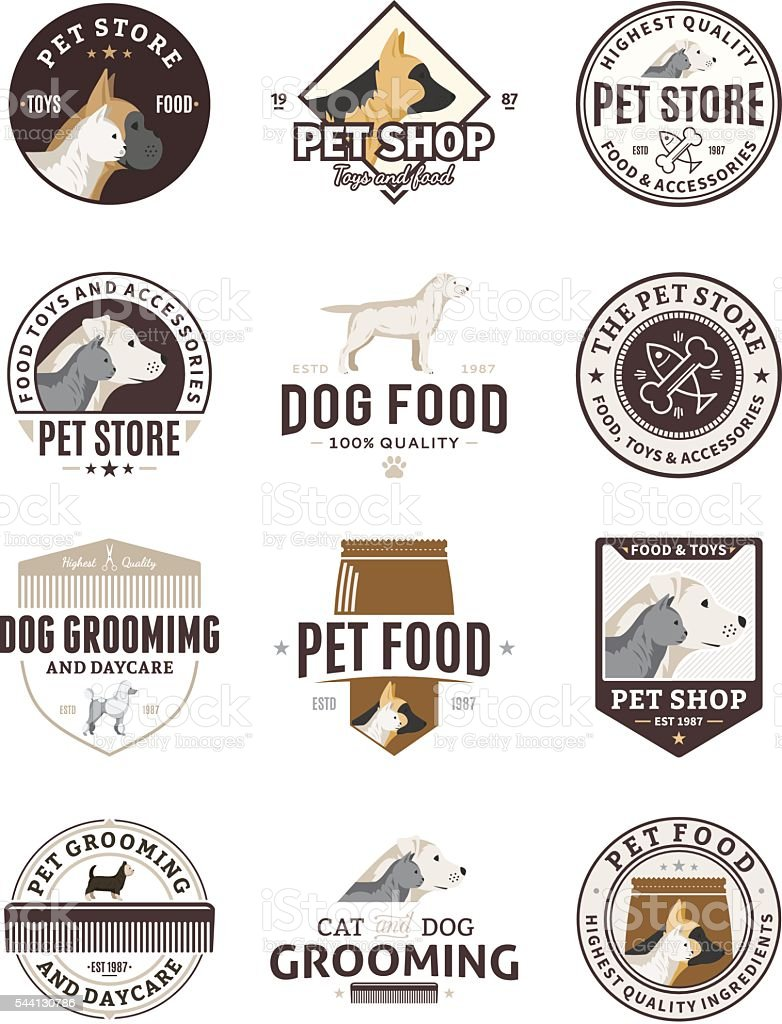 Set of vector pet labels and icons vector art illustration