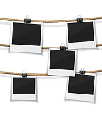 Set of vector  photo hanged on rope. Realistic retro style