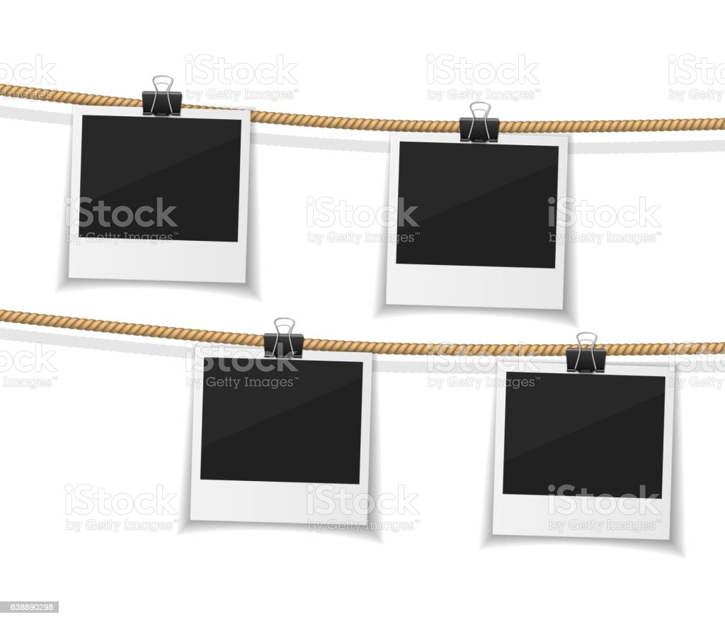 Set of vector  photo hanged on rope. Realistic retro style vector art illustration