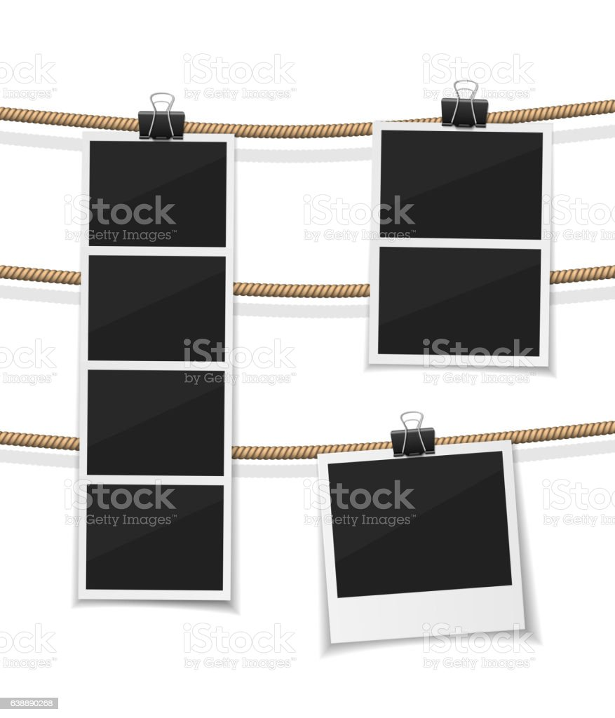 Set of vector photobooth and  photos hanged on rope. Realistic vector art illustration