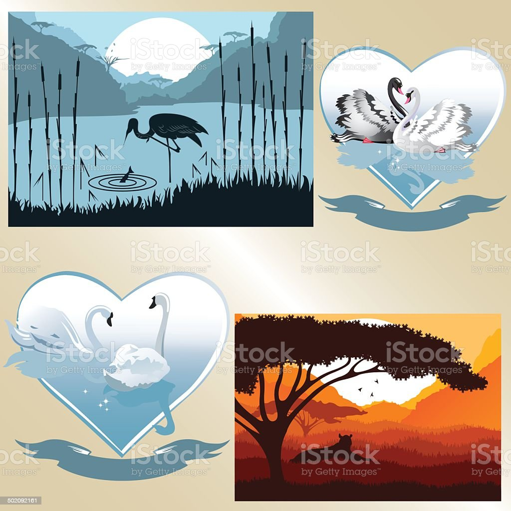 Set of vector pictures on romantic and natural theme royalty-free stock vector art