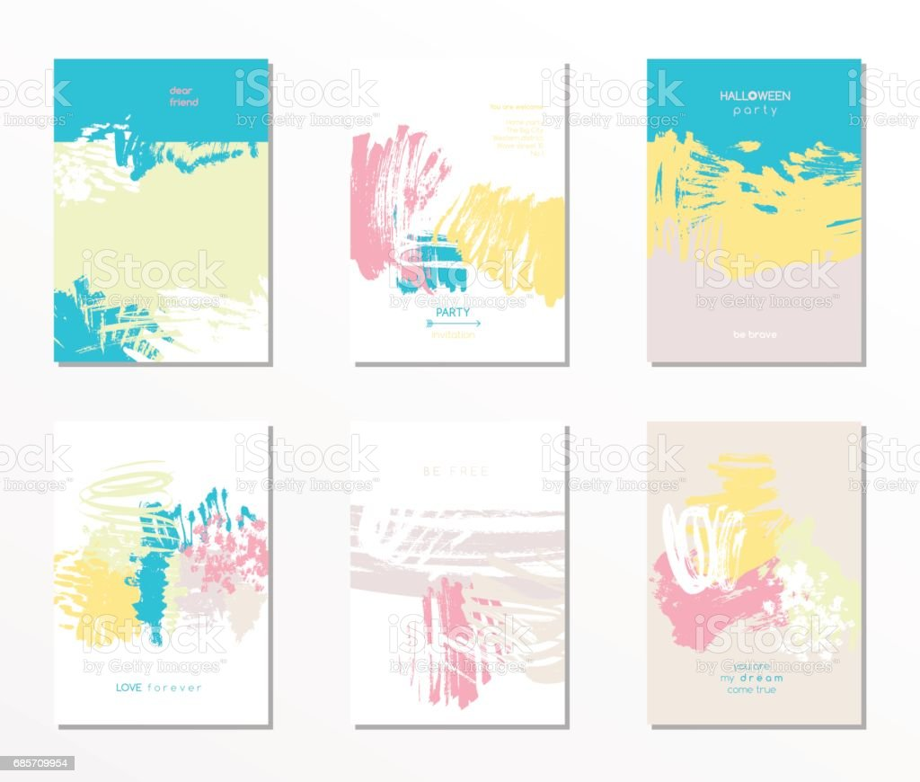 Set of vector postcards vector art illustration