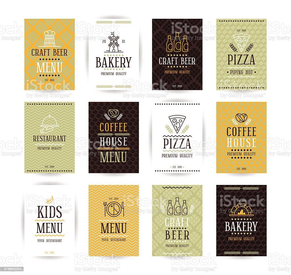 Set of vector poster templates for bakery, cafe, restaurant, piz vector art illustration