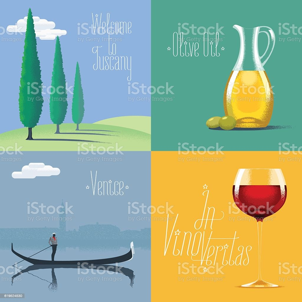 Set of vector posters, flyers, postcards, designs, illustration for Italy vector art illustration
