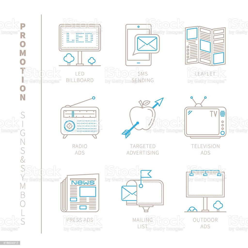 Set of vector promotion icons and concepts vector art illustration