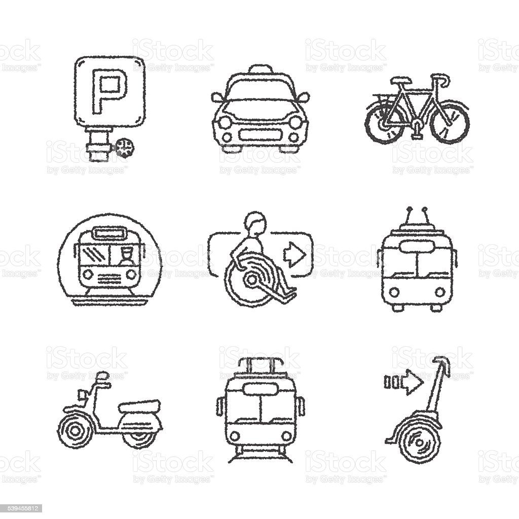 Set of vector public transport icons in ketch style vector art illustration