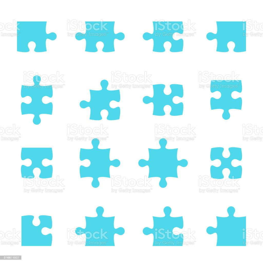Set of vector puzzle pieces. vector art illustration