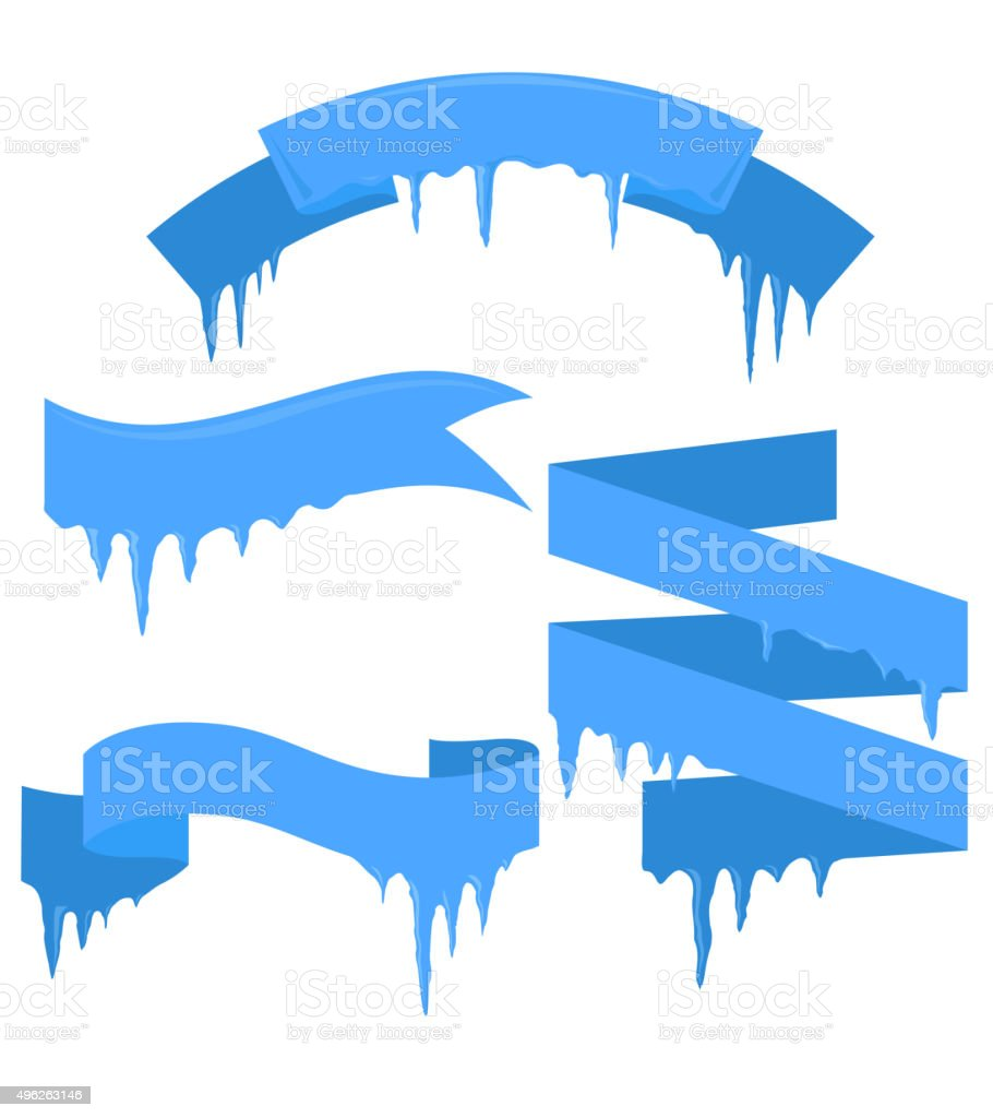 Set of vector ribbons with icicles vector art illustration