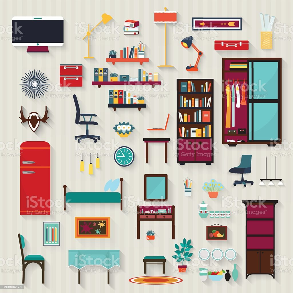 All rooms in the house rooms of homes vector art image illustration - Set Of Vector Rooms Furnitures Of House Flat Style Royalty Free Stock Vector