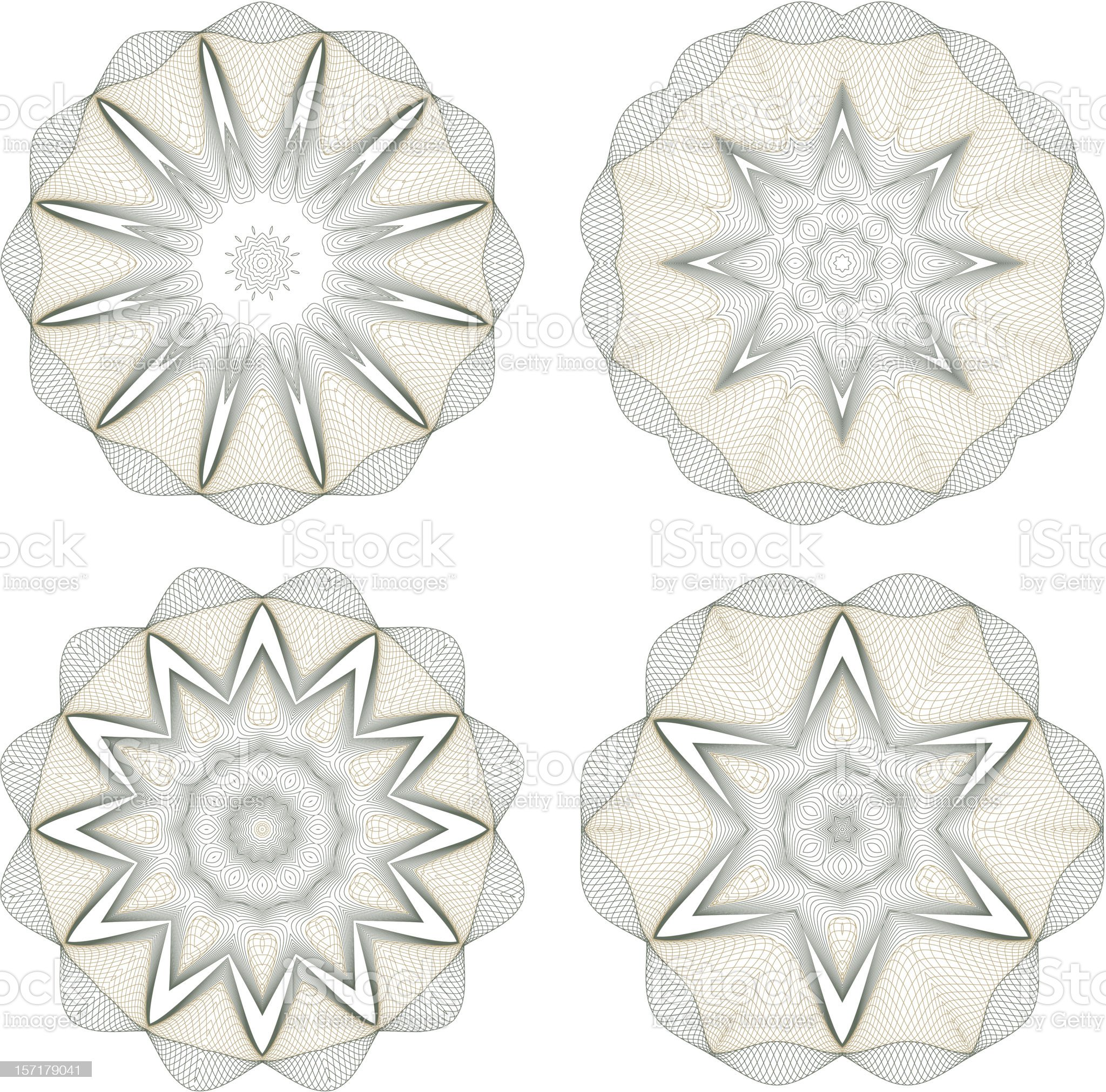Set of vector round guilloche rosettes royalty-free stock vector art