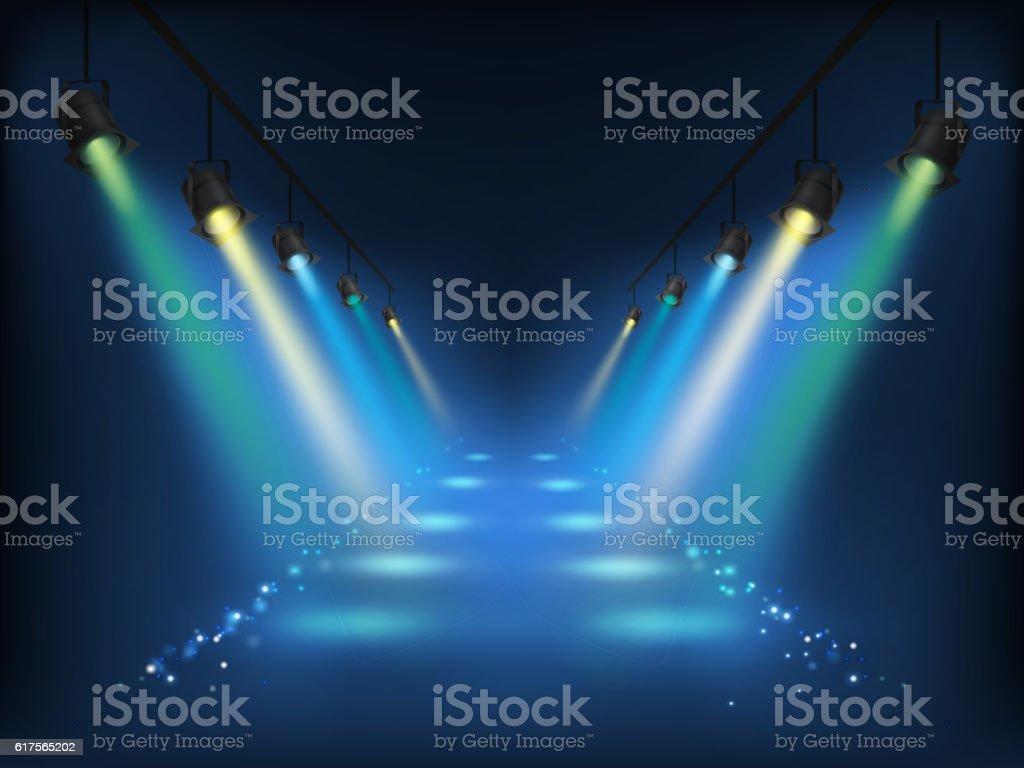 Set of vector scenic spotlights vector art illustration