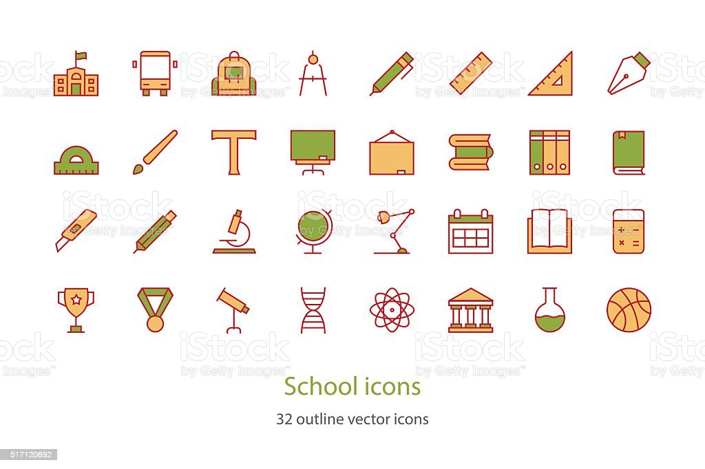 Set of vector School Education thin line icons. Colorful. vector art illustration