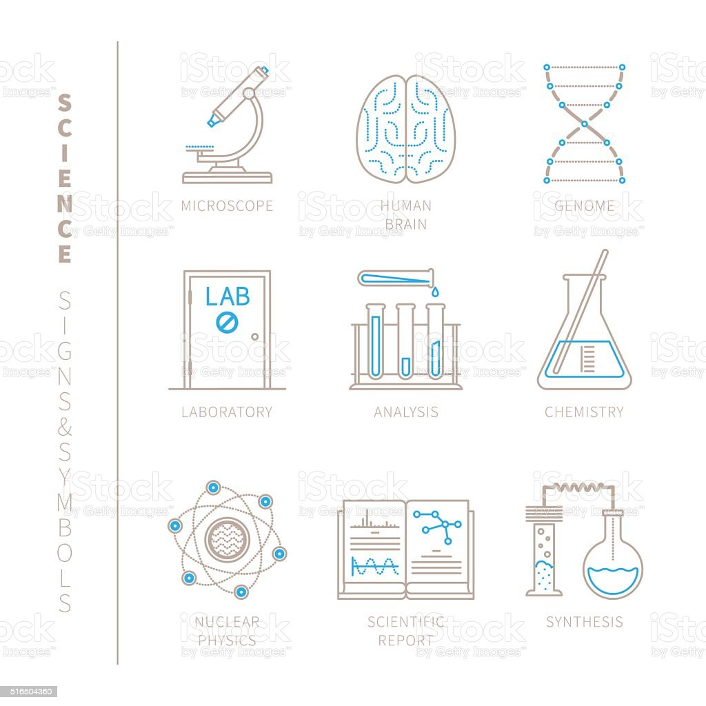 Set of vector science icons and concepts vector art illustration