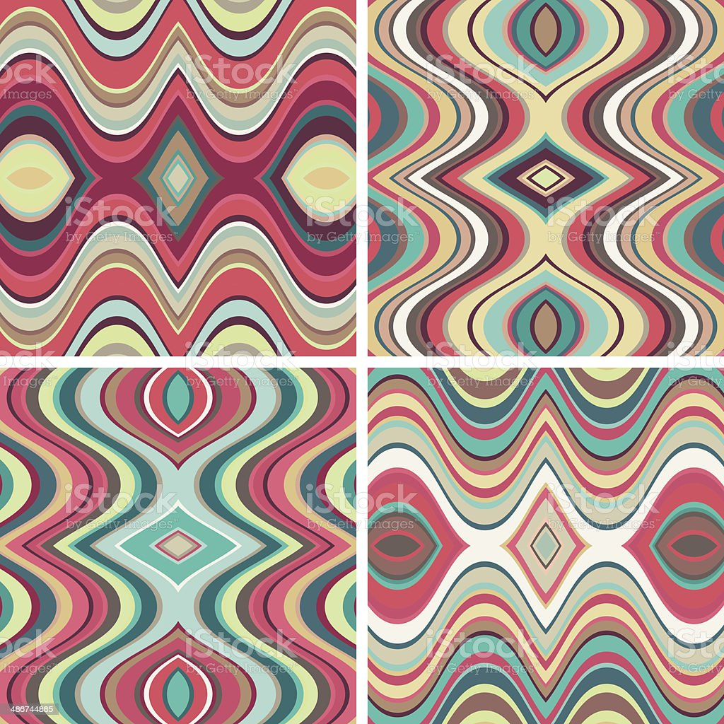 Set of Vector Seamless Abstract Wavy Backgrounds vector art illustration