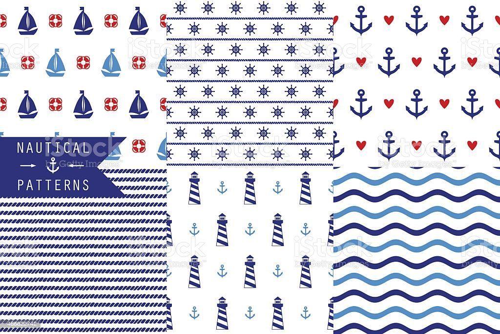 Set of vector seamless patterns with sea elements vector art illustration