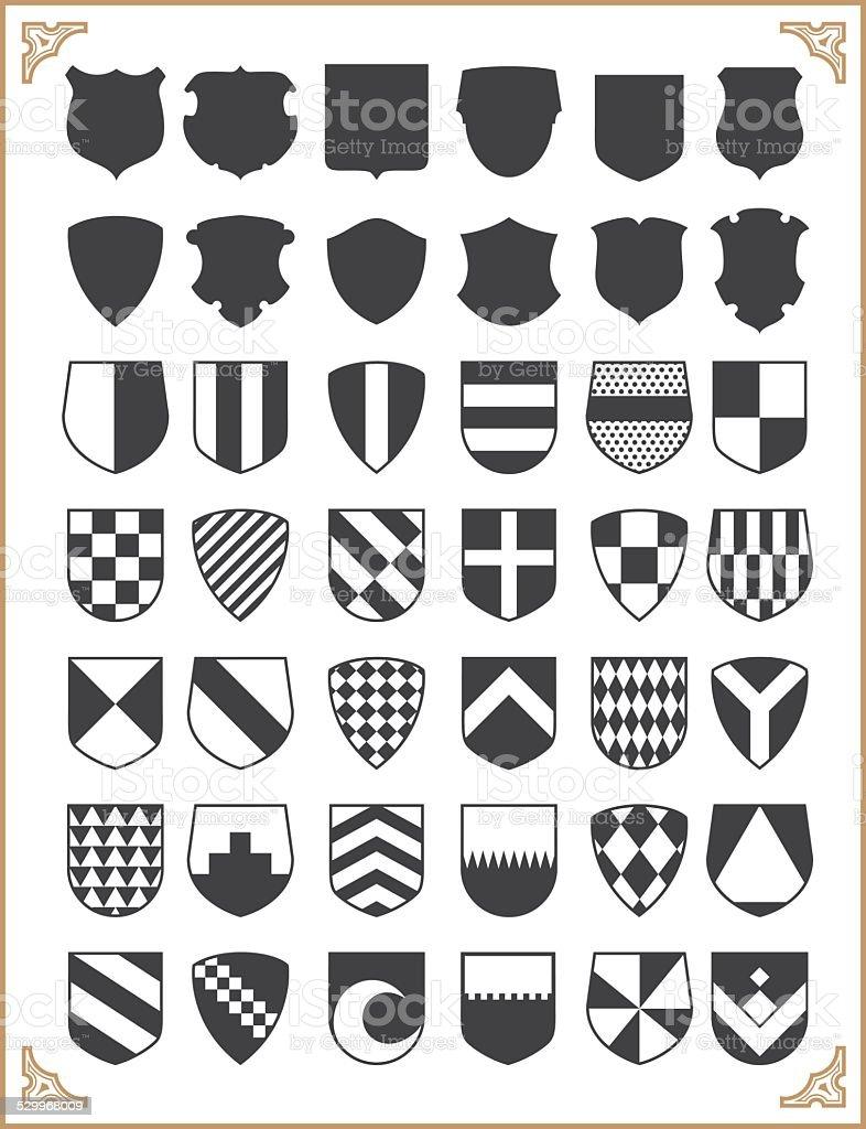 Set of vector shields vector art illustration