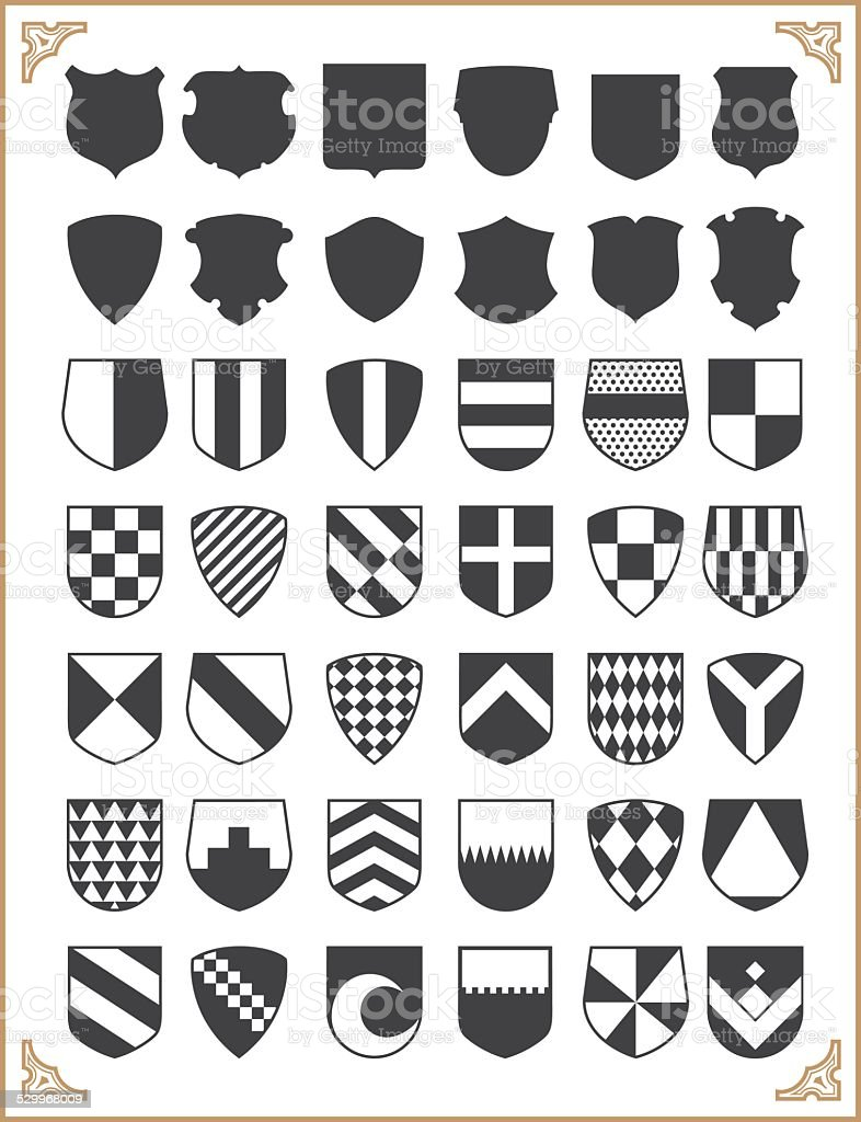 Set of vector shields vector art illustration