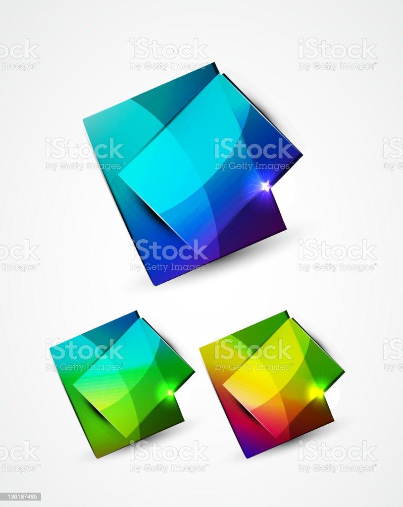 Set of vector shiny glass plates royalty-free stock vector art