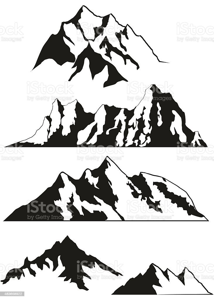 Set of vector silhouettes of the mountains vector art illustration