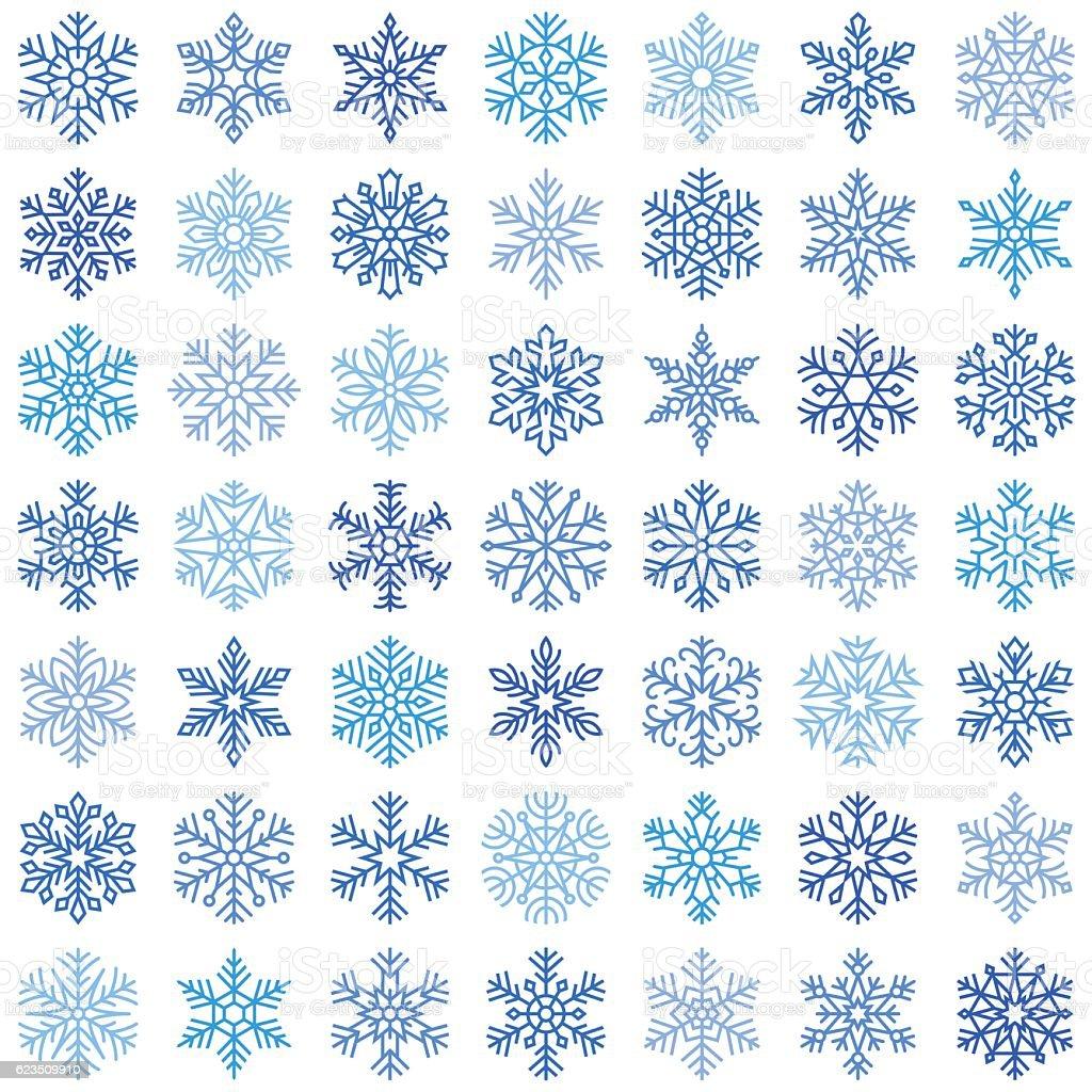 Set of vector snowflakes vector art illustration