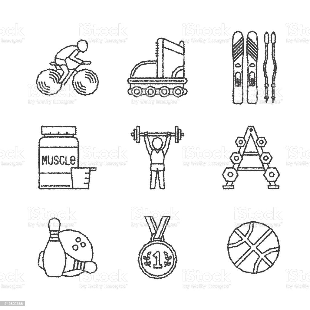 Set of vector sport icons in sketch style vector art illustration