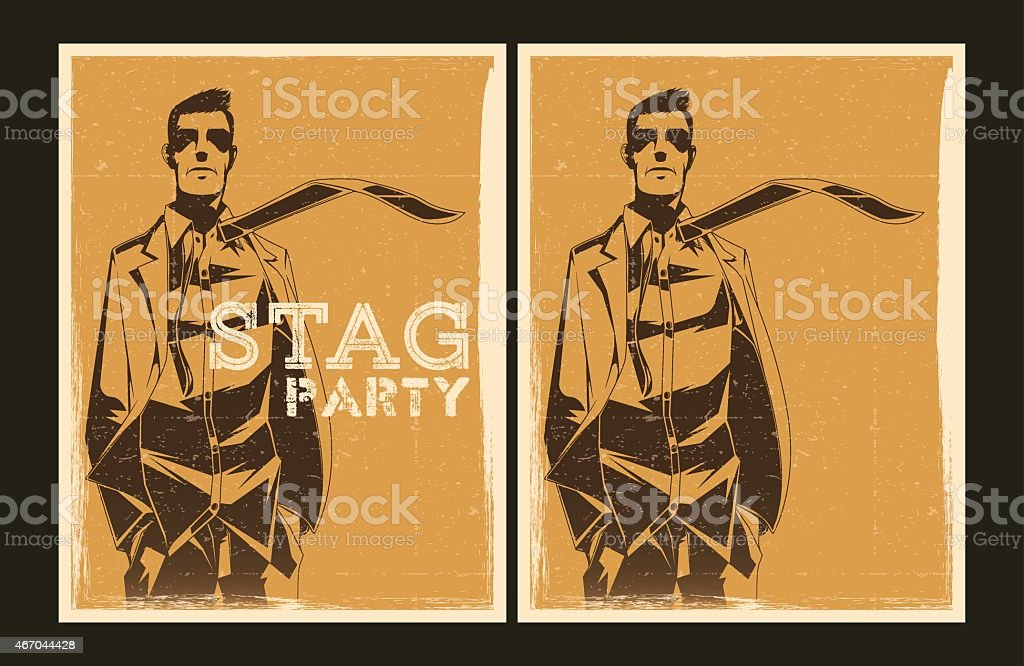 Set of vector Stag party posters vector art illustration
