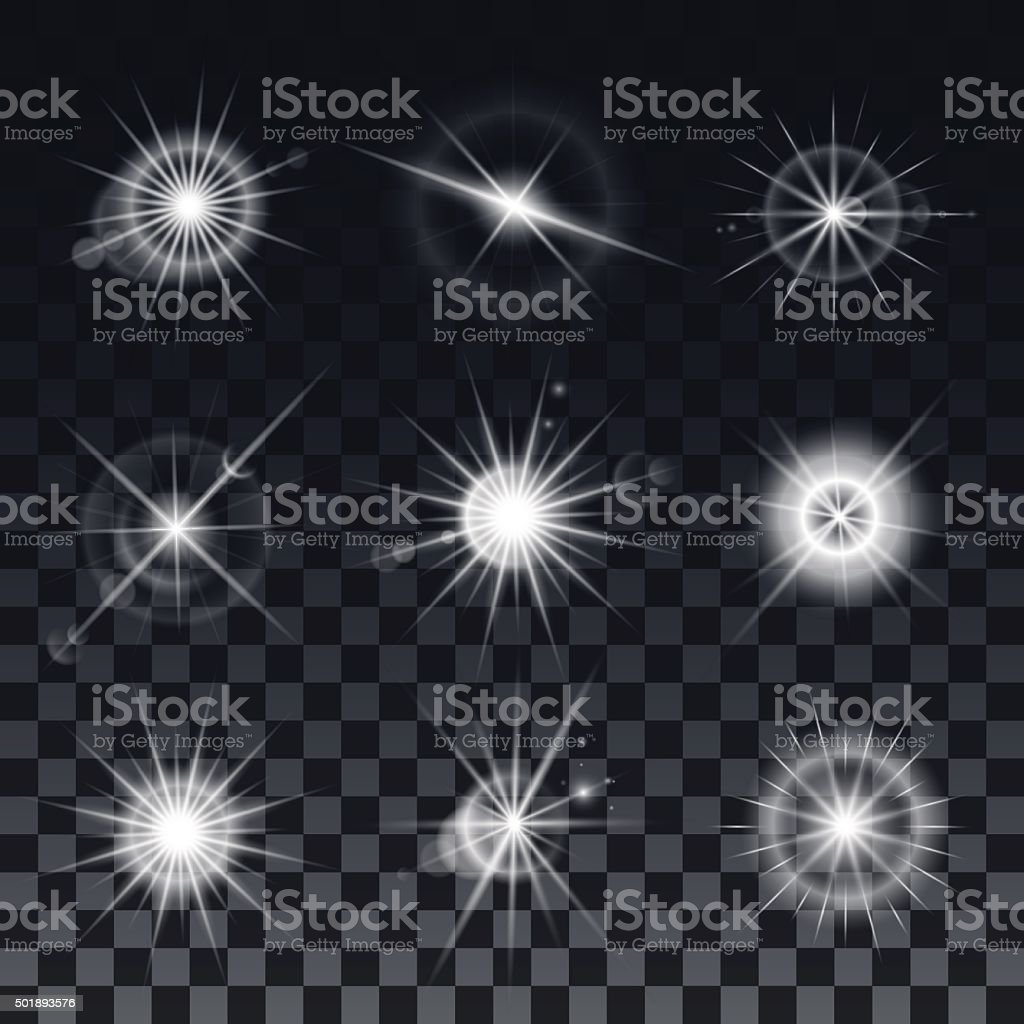 Set of vector stars on a black background vector art illustration