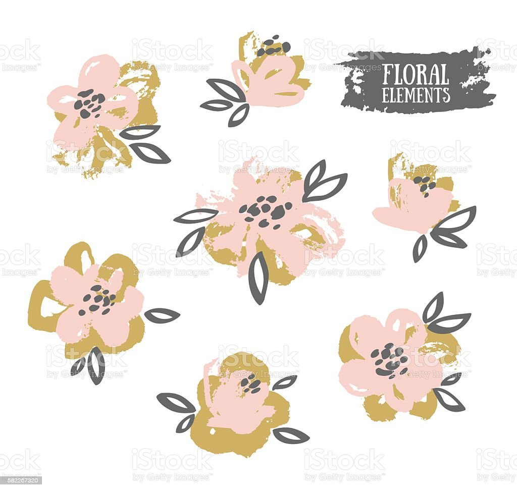 Set of vector stylish grunge pink and gold flowers. vector art illustration