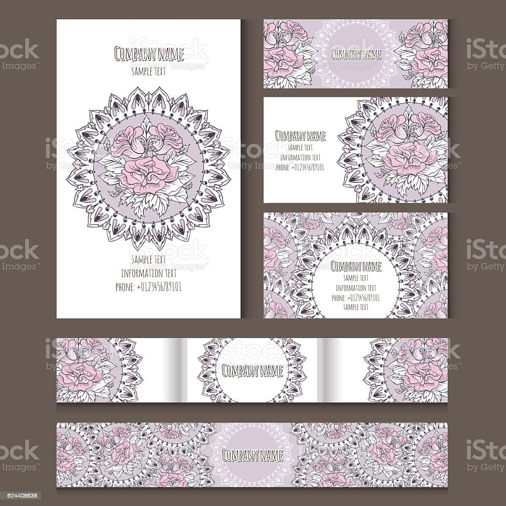 Set of templates for notebooks, cards, business cards and invitation...