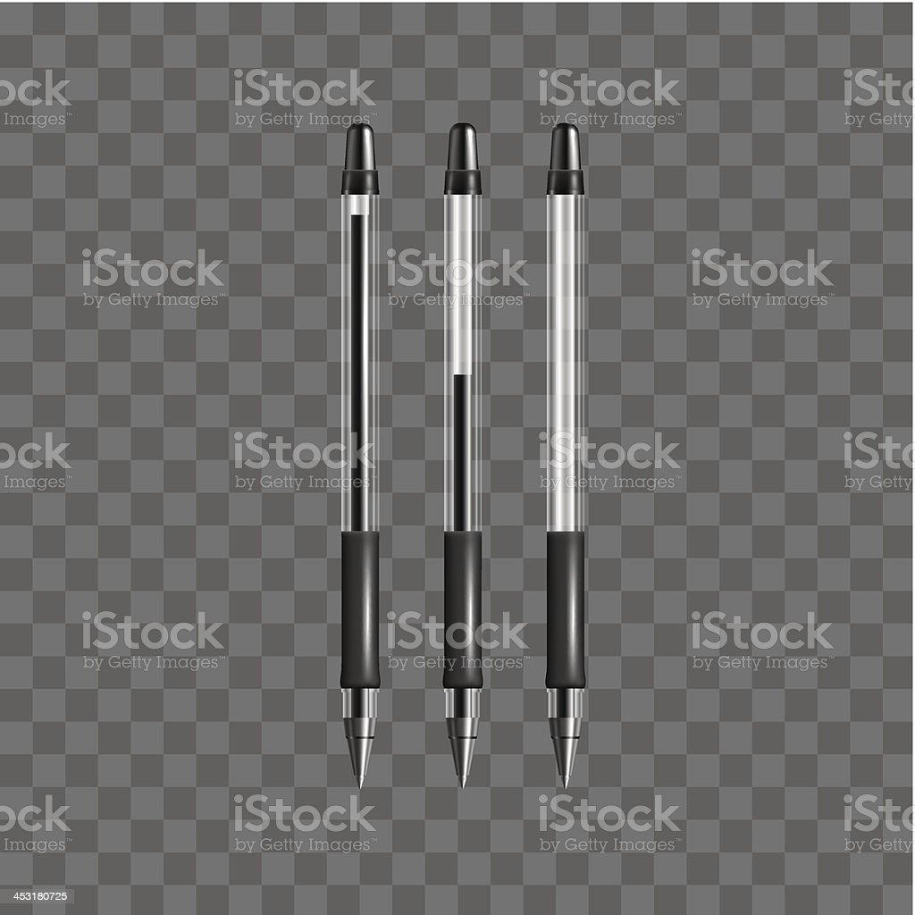 Set of vector transparent black gel pens royalty-free stock vector art