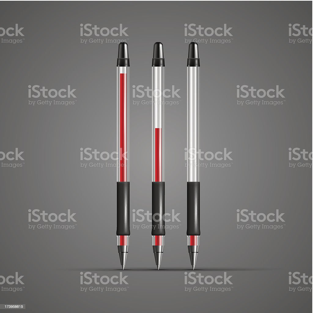 Set of vector transparent red gel pens royalty-free stock vector art