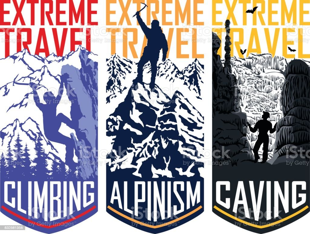 set of vector travel flayer template illustration -  caving, climbing, alpinism mountaineering vector art illustration