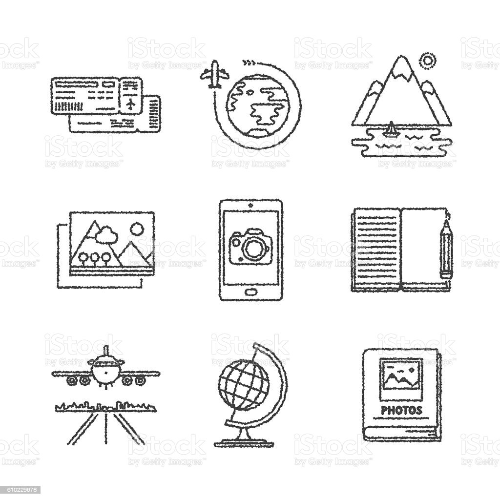 Set of vector travel icons and concepts in sketch style vector art illustration
