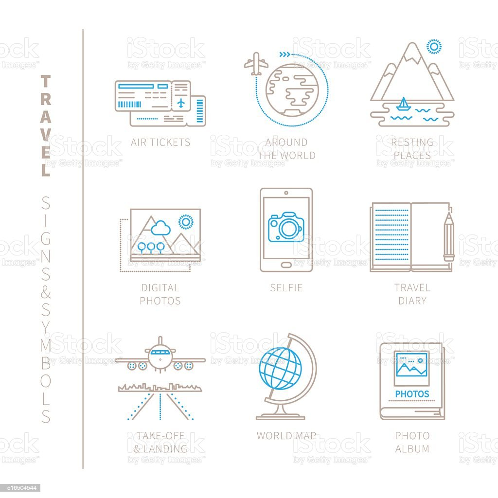 Set of vector travel icons and concepts vector art illustration