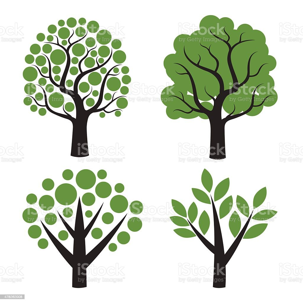 Set of vector tree with green leafs. vector art illustration