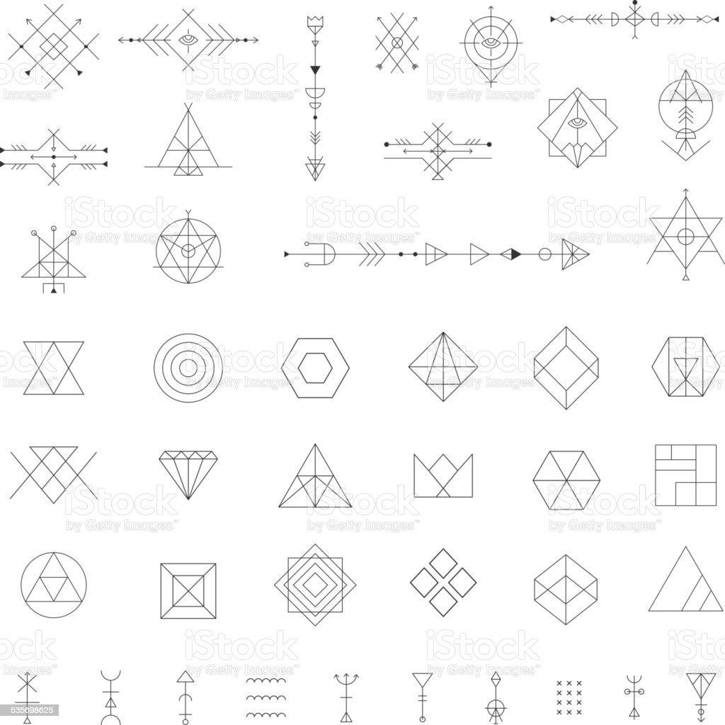 Set of vector trendy geometric icons. vector art illustration