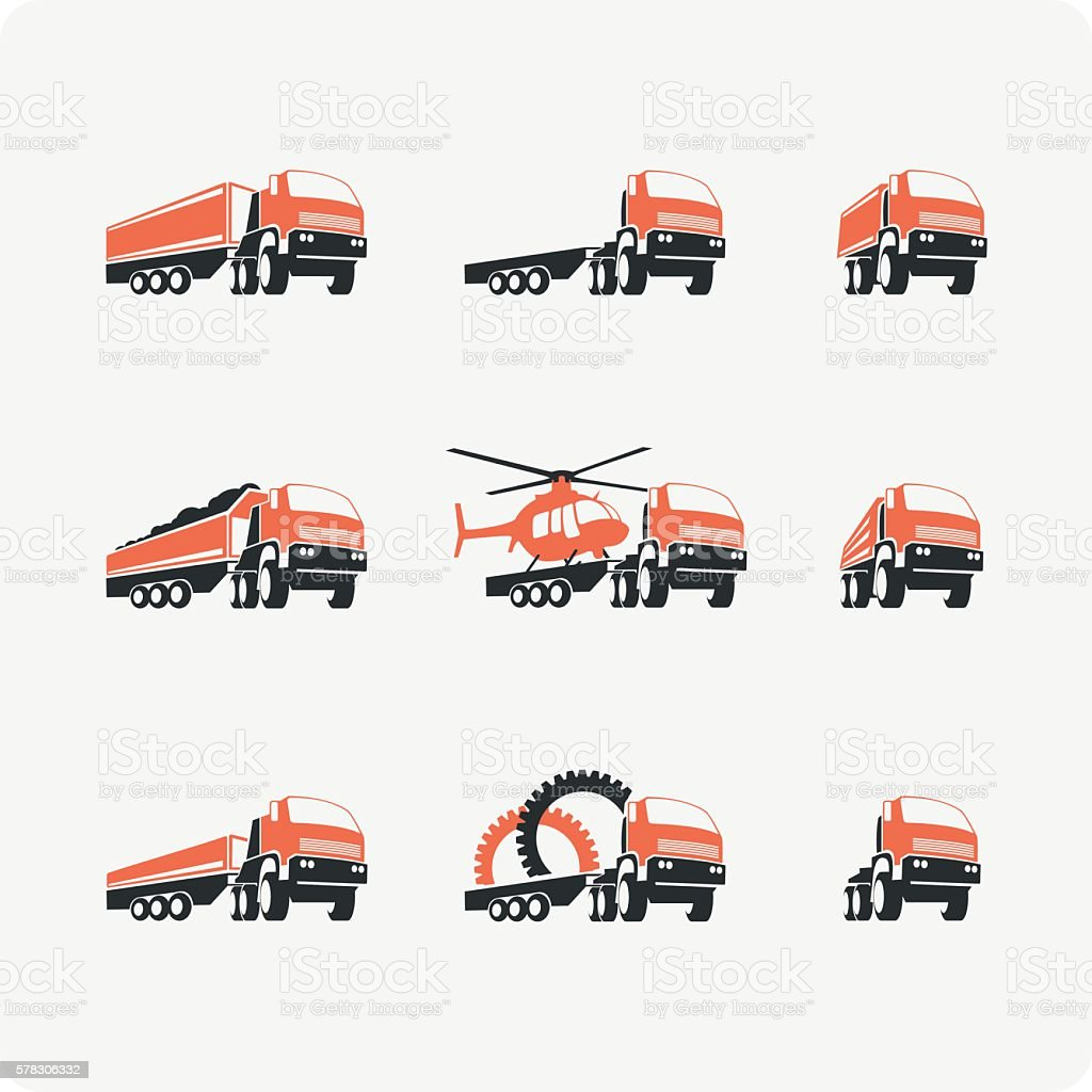 Set of vector truck. vector art illustration