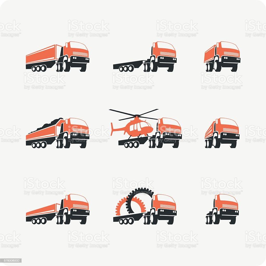 Set of vector truck. vector art illustration