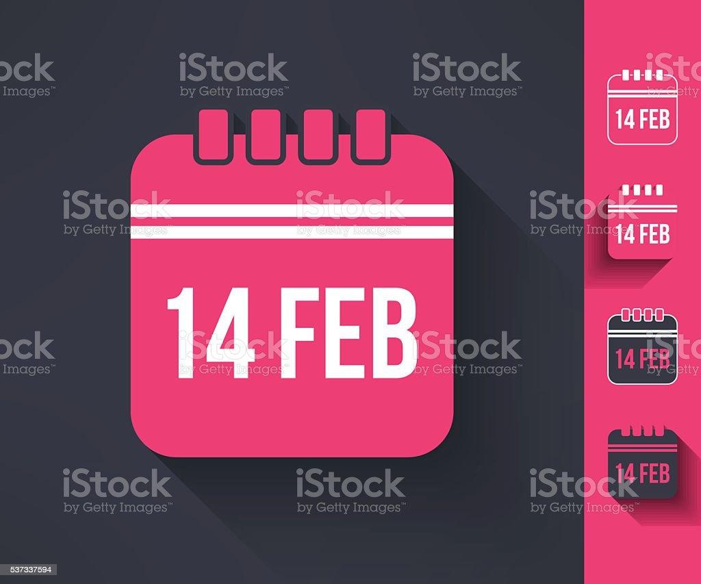 Set of vector valentines calendar reminder symbols in flat design vector art illustration