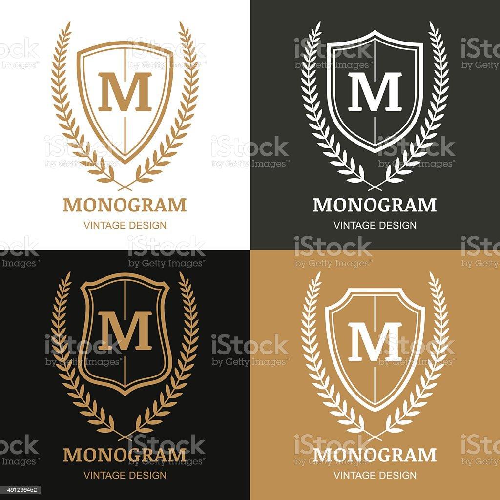 Set of vector vintage emblem design template. vector art illustration