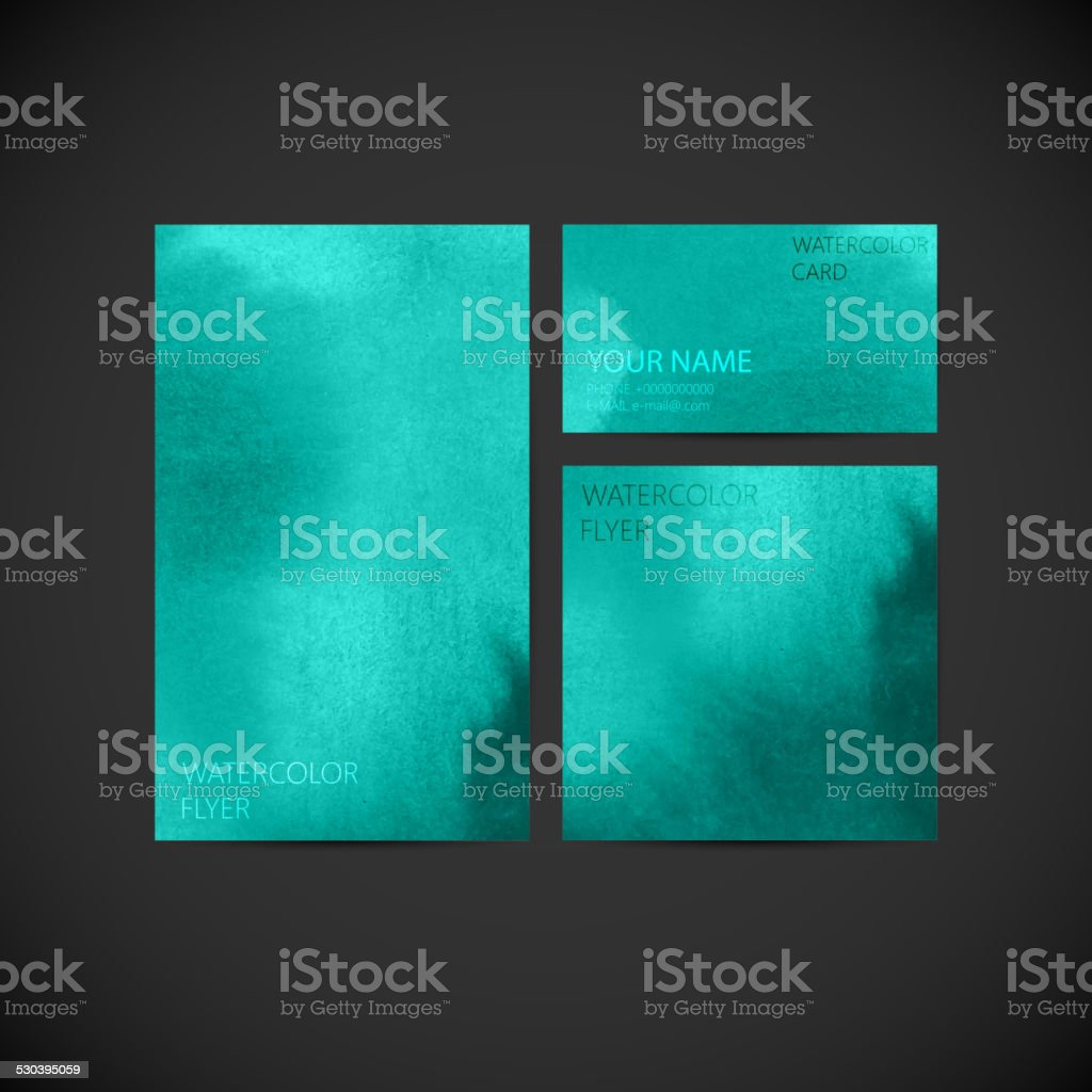 vector conjunto de negocios identidad visual con pintura azul turquesa wat libre de derechos libre