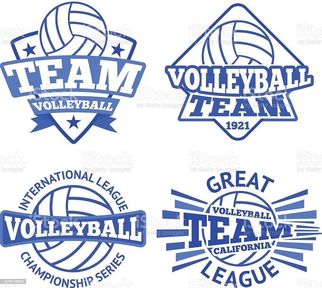 Set of vector volleyball badges, logo templates etc. vector art illustration